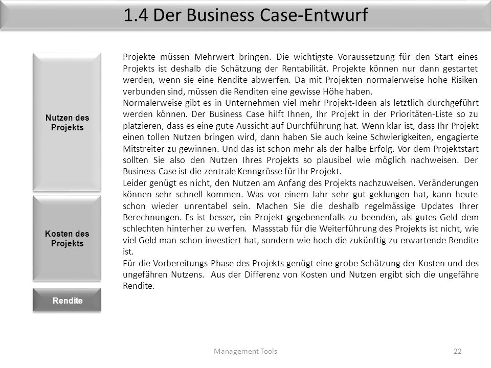 1.4 Der Business Case-Entwurf