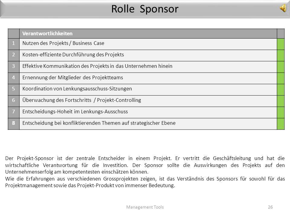 Rolle Sponsor Verantwortlichkeiten 1