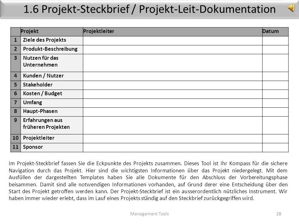 1.6 Projekt-Steckbrief / Projekt-Leit-Dokumentation