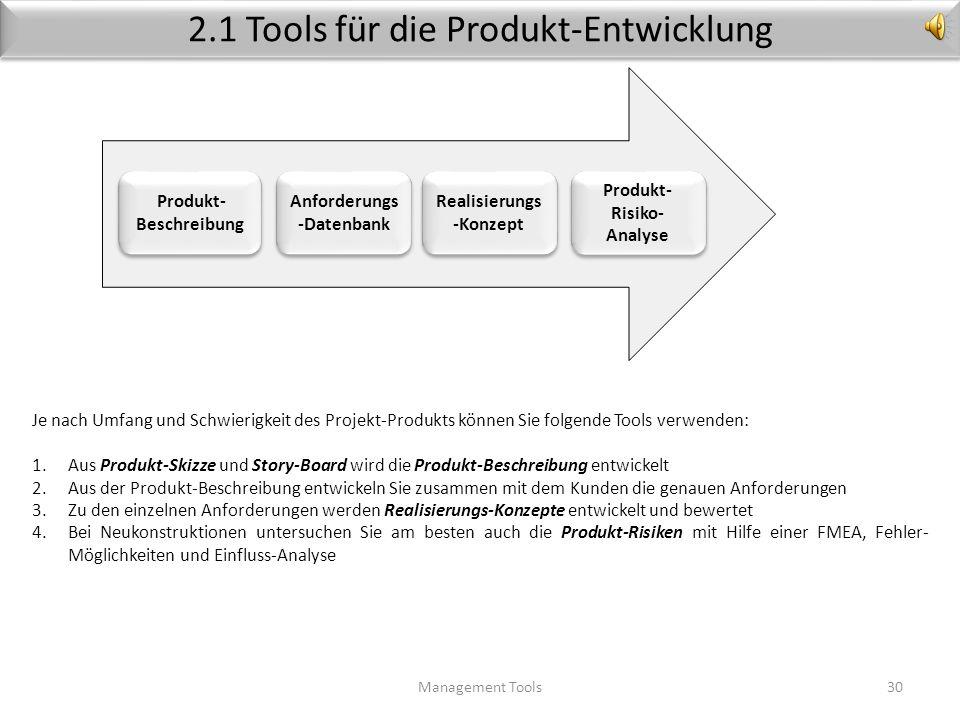 2.1 Tools für die Produkt-Entwicklung