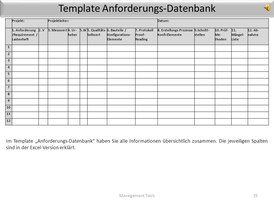 Template Anforderungs-Datenbank