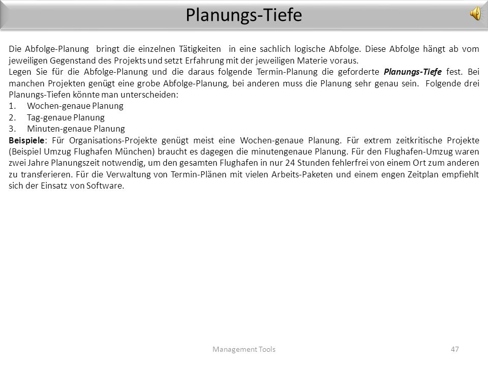 Planungs-Tiefe