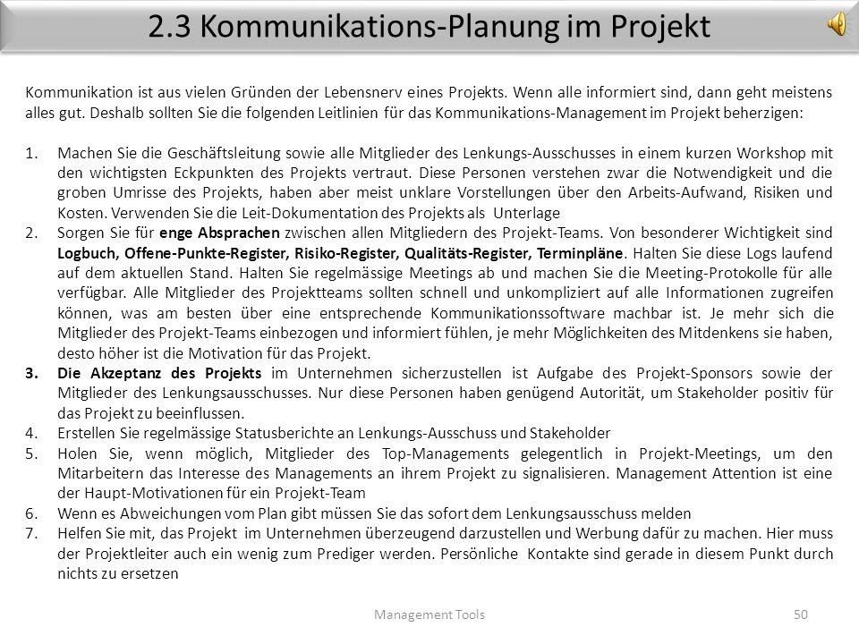2.3 Kommunikations-Planung im Projekt