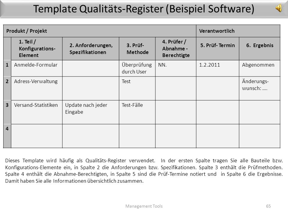 Template Qualitäts-Register (Beispiel Software)