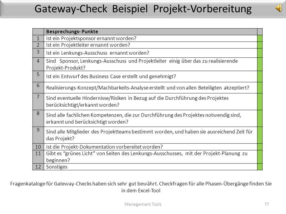 Gateway-Check Beispiel Projekt-Vorbereitung