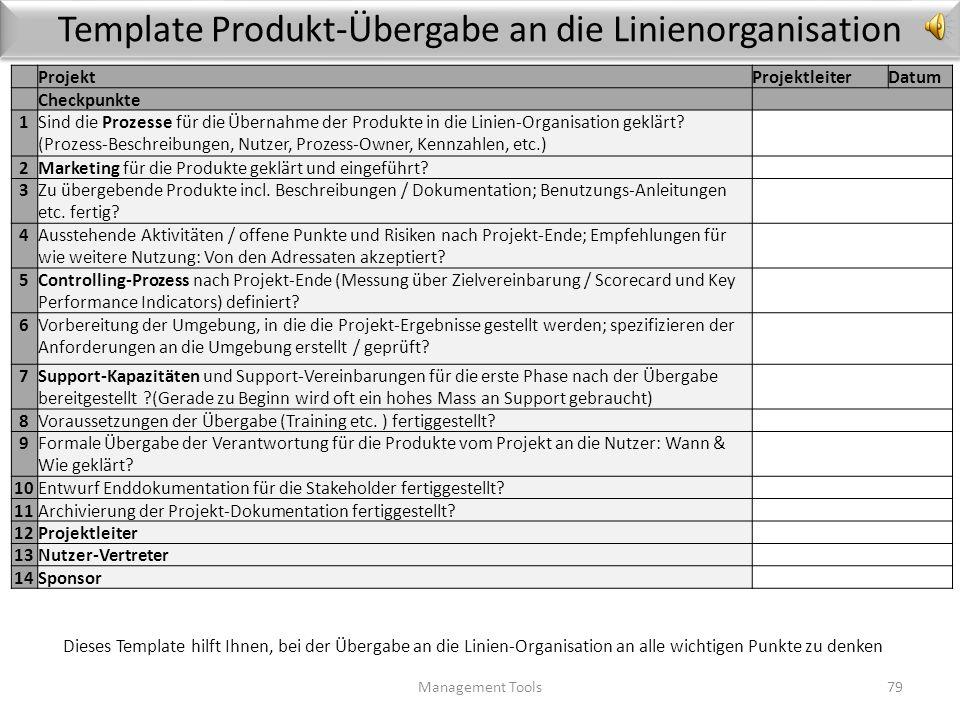 Template Produkt-Übergabe an die Linienorganisation