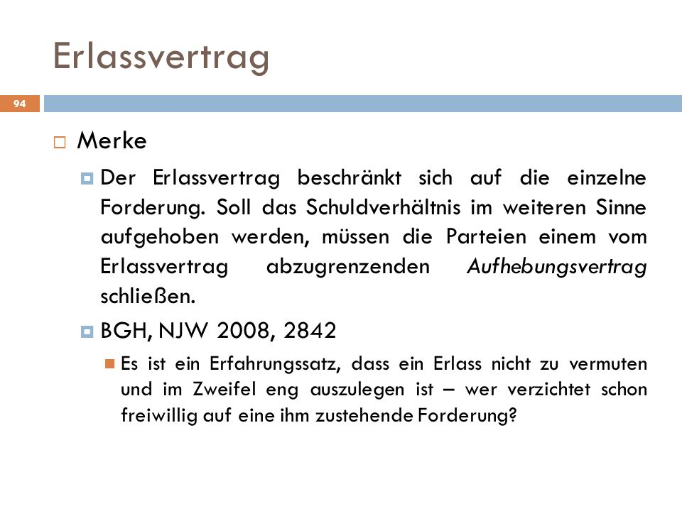 Erlassvertrag Merke.