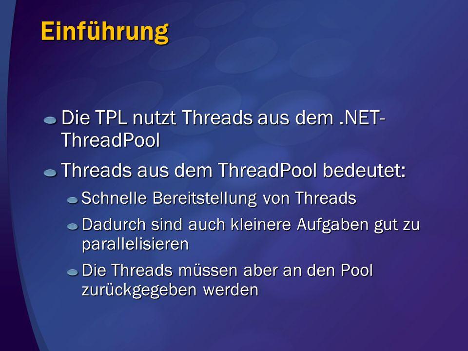 Einführung Die TPL nutzt Threads aus dem .NET-ThreadPool
