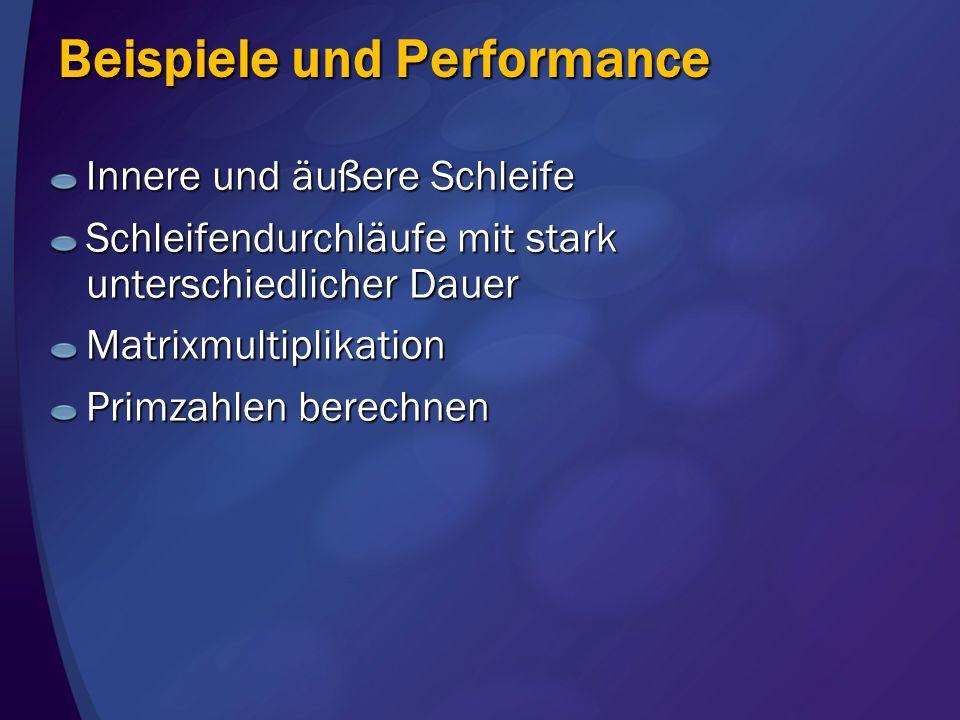 Beispiele und Performance