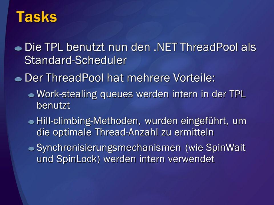 Tasks Die TPL benutzt nun den .NET ThreadPool als Standard-Scheduler