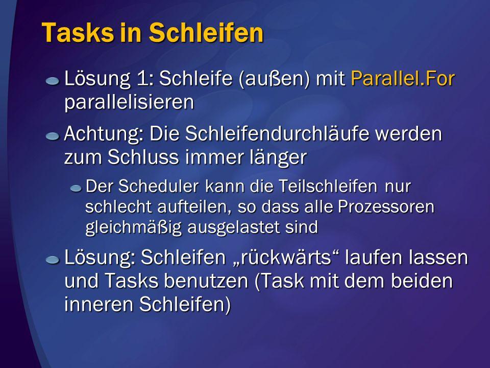 Tasks in Schleifen Lösung 1: Schleife (außen) mit Parallel.For parallelisieren. Achtung: Die Schleifendurchläufe werden zum Schluss immer länger.