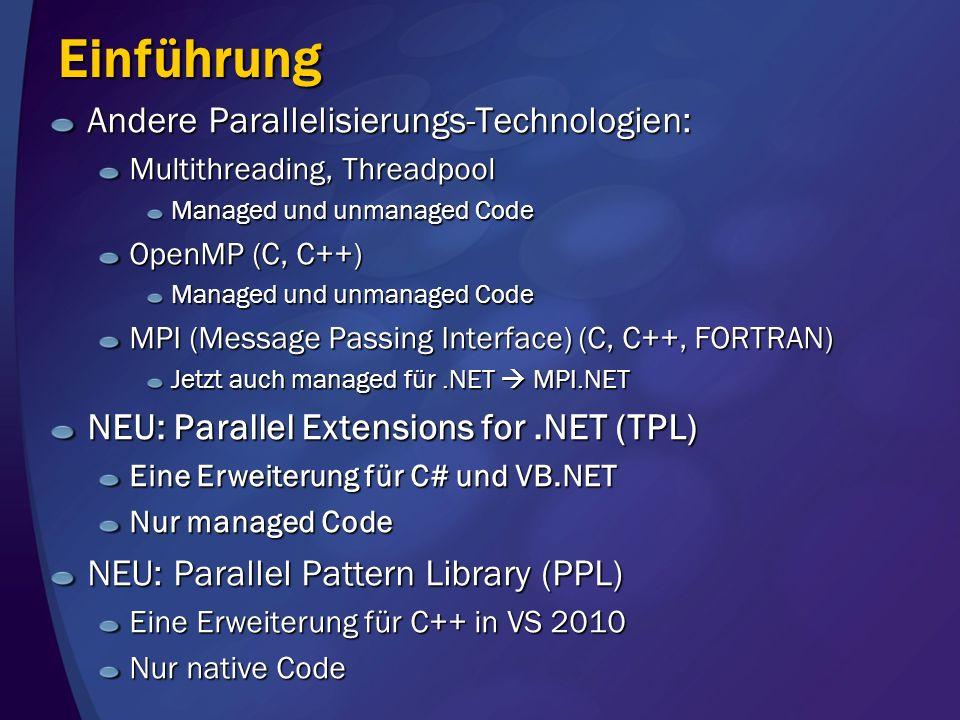Einführung Andere Parallelisierungs-Technologien: