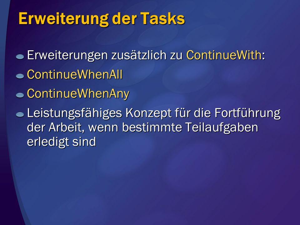 Erweiterung der Tasks Erweiterungen zusätzlich zu ContinueWith: