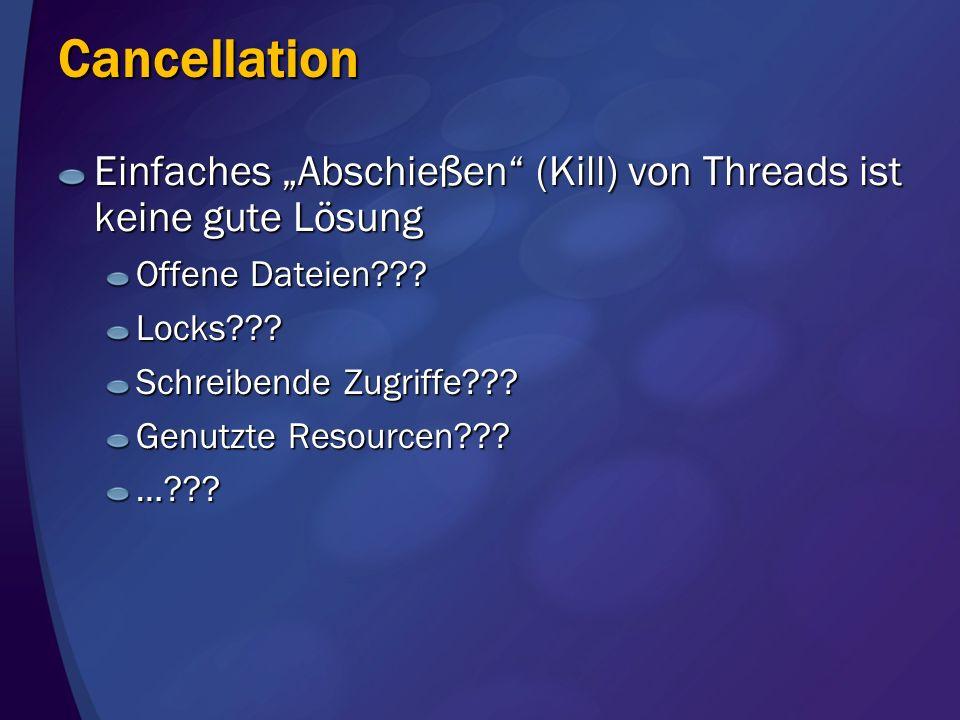 """Cancellation Einfaches """"Abschießen (Kill) von Threads ist keine gute Lösung. Offene Dateien Locks"""