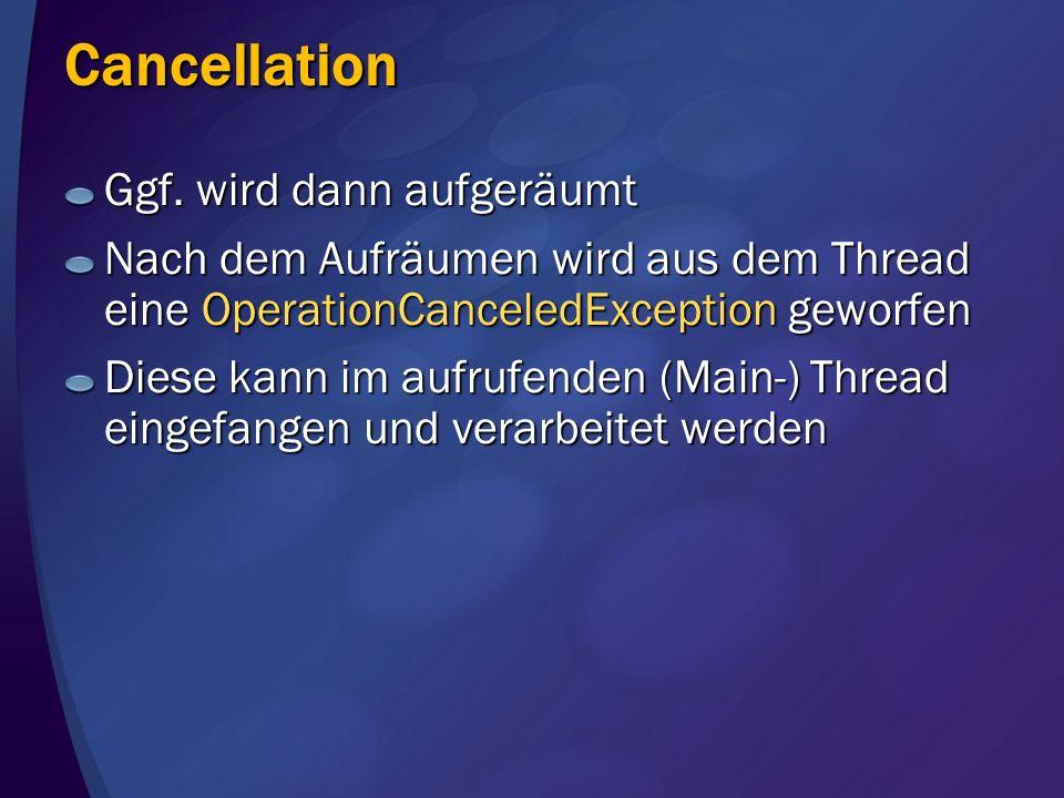 Cancellation Ggf. wird dann aufgeräumt