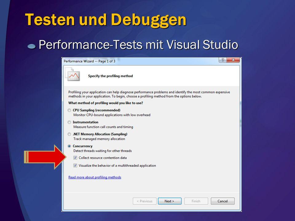 Testen und Debuggen Performance-Tests mit Visual Studio