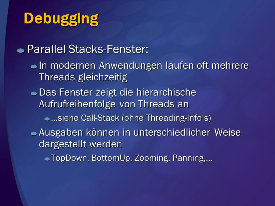 Debugging Parallel Stacks-Fenster: