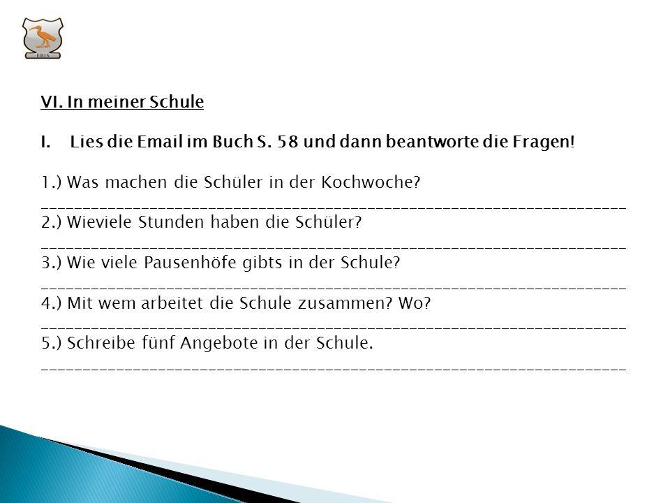 VI. In meiner Schule Lies die Email im Buch S. 58 und dann beantworte die Fragen! 1.) Was machen die Schüler in der Kochwoche