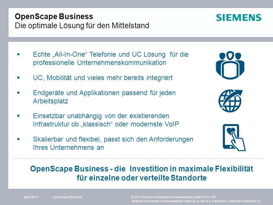 OpenScape Business Die optimale Lösung für den Mittelstand