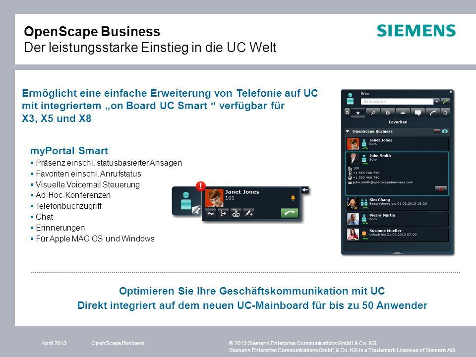 OpenScape Business Der leistungsstarke Einstieg in die UC Welt