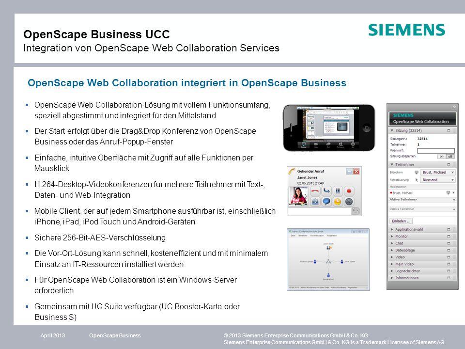 OpenScape Business UCC Integration von OpenScape Web Collaboration Services
