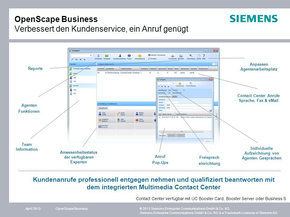 OpenScape Business Verbessert den Kundenservice, ein Anruf genügt