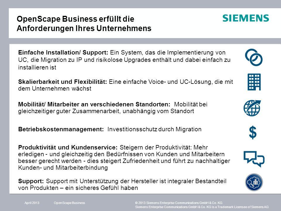 OpenScape Business erfüllt die Anforderungen Ihres Unternehmens