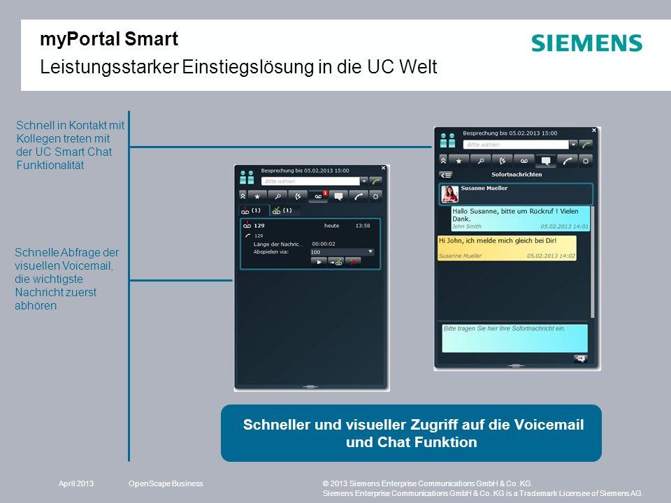 Schneller und visueller Zugriff auf die Voicemail und Chat Funktion