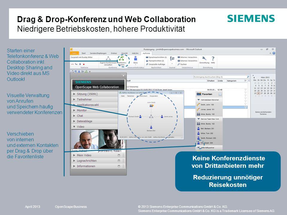 Drag & Drop-Konferenz und Web Collaboration Niedrigere Betriebskosten, höhere Produktivität