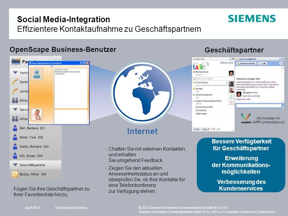 Social Media-Integration Effizientere Kontaktaufnahme zu Geschäftspartnern