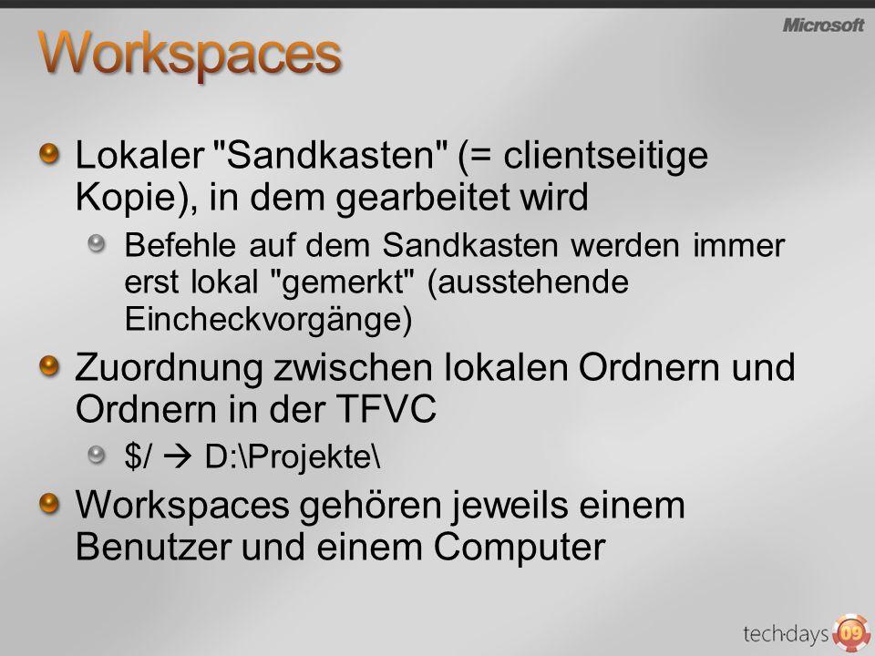 Workspaces Lokaler Sandkasten (= clientseitige Kopie), in dem gearbeitet wird.