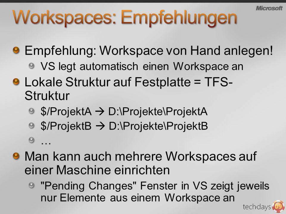 Workspaces: Empfehlungen