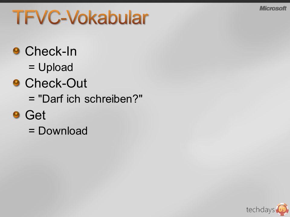 TFVC-Vokabular Check-In Check-Out Get = Upload = Darf ich schreiben
