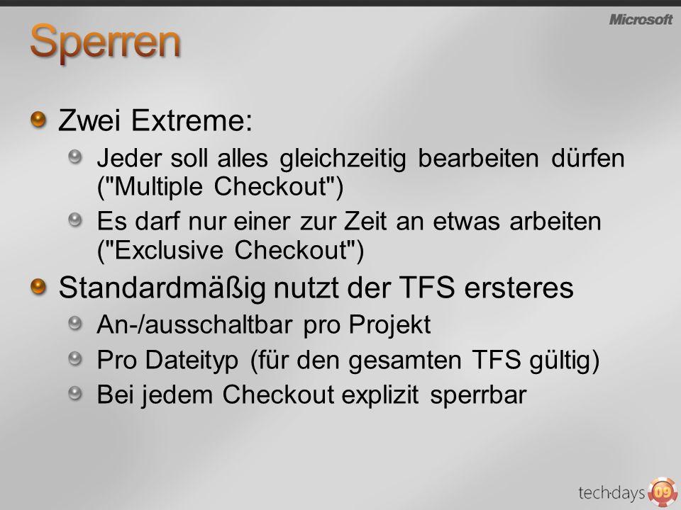 Sperren Zwei Extreme: Standardmäßig nutzt der TFS ersteres