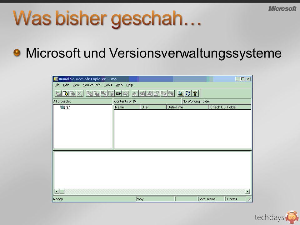 Was bisher geschah… Microsoft und Versionsverwaltungssysteme