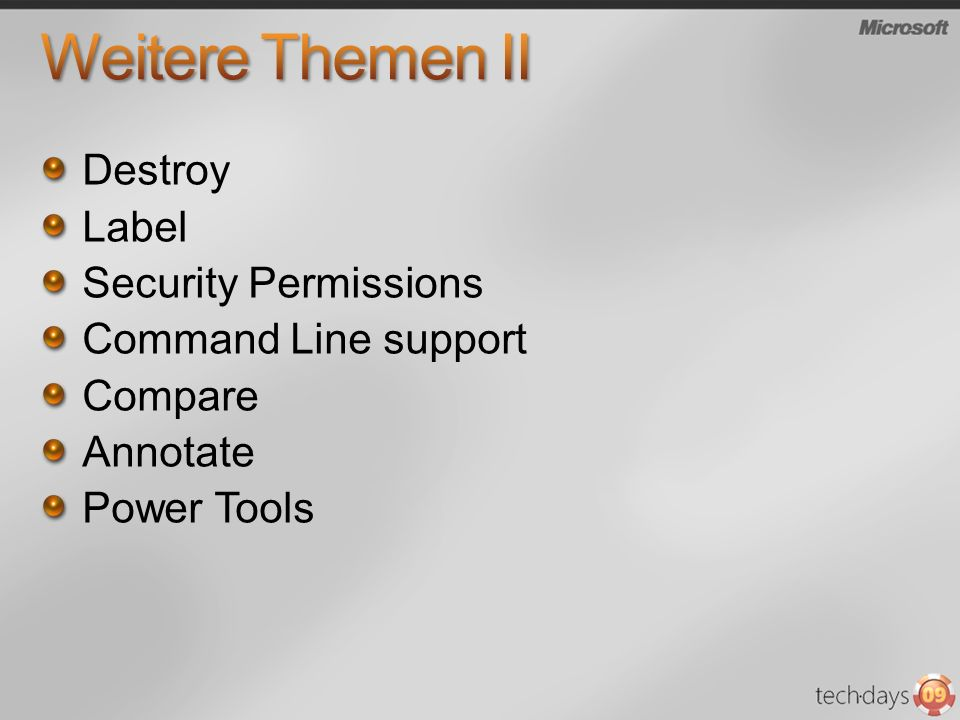Weitere Themen II Destroy Label Security Permissions