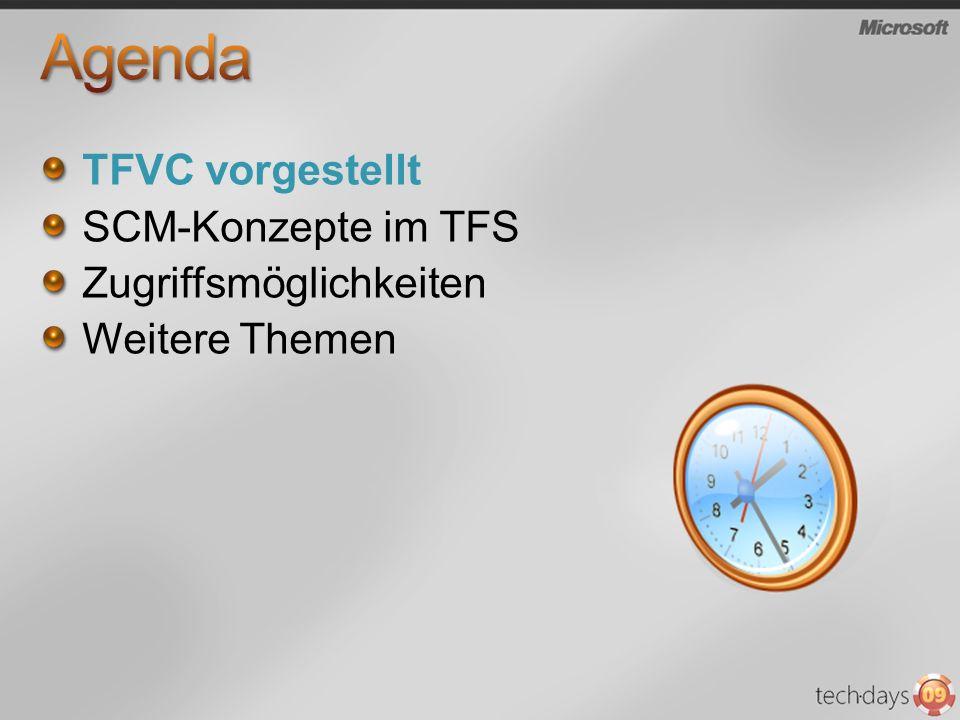 Agenda TFVC vorgestellt SCM-Konzepte im TFS Zugriffsmöglichkeiten