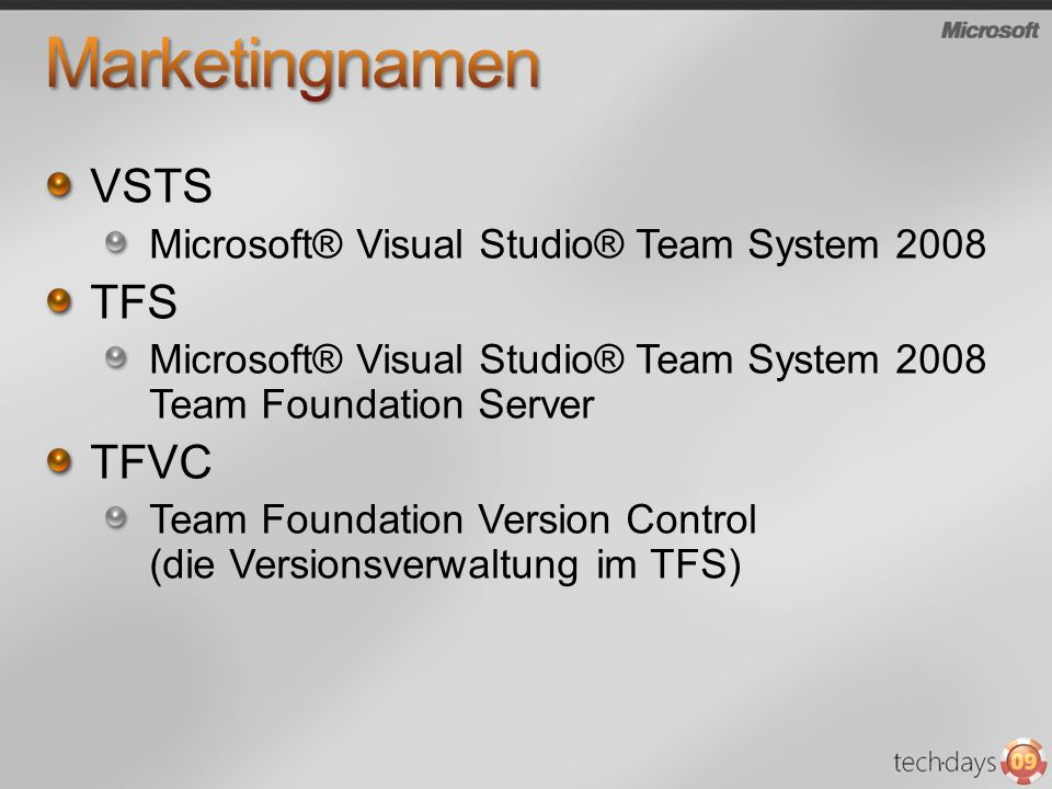 Marketingnamen VSTS TFS TFVC