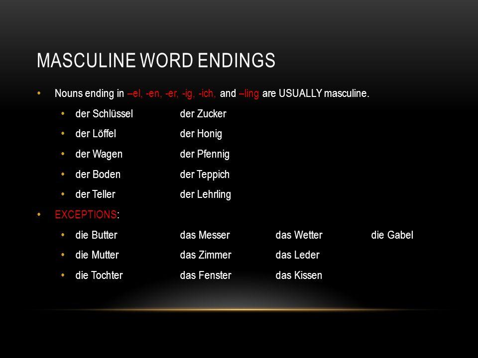 Masculine Word endings