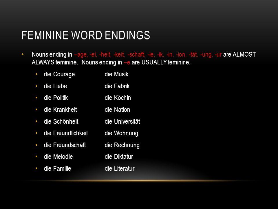 feminine word endings
