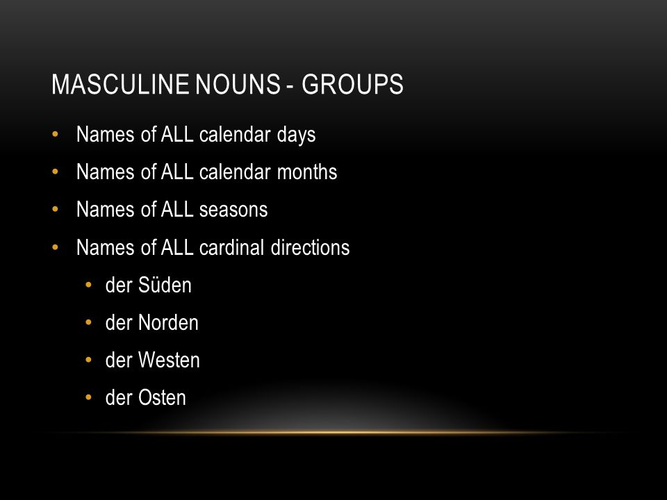 Masculine nouns - groups