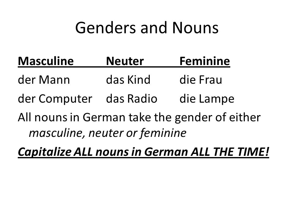 Genders and Nouns