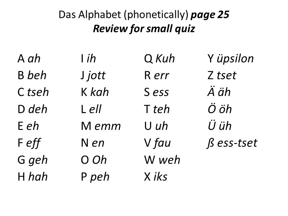 Das Alphabet (phonetically) page 25 Review for small quiz