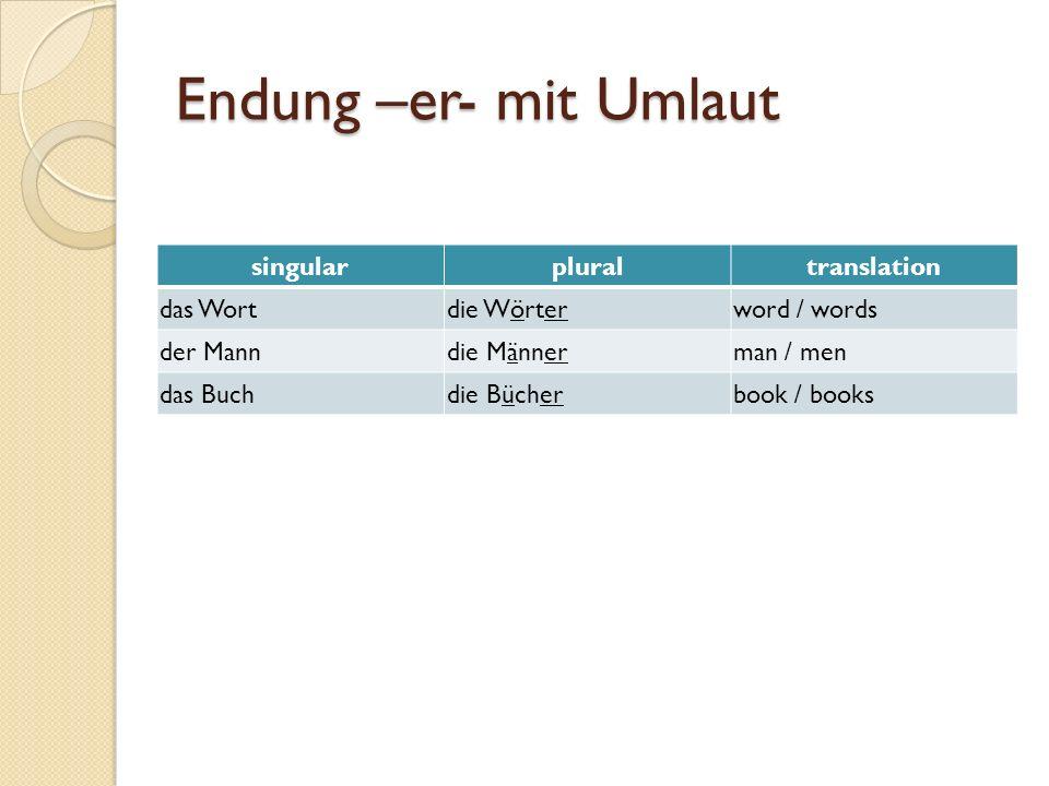 Endung –er- mit Umlaut singular plural translation das Wort die Wörter