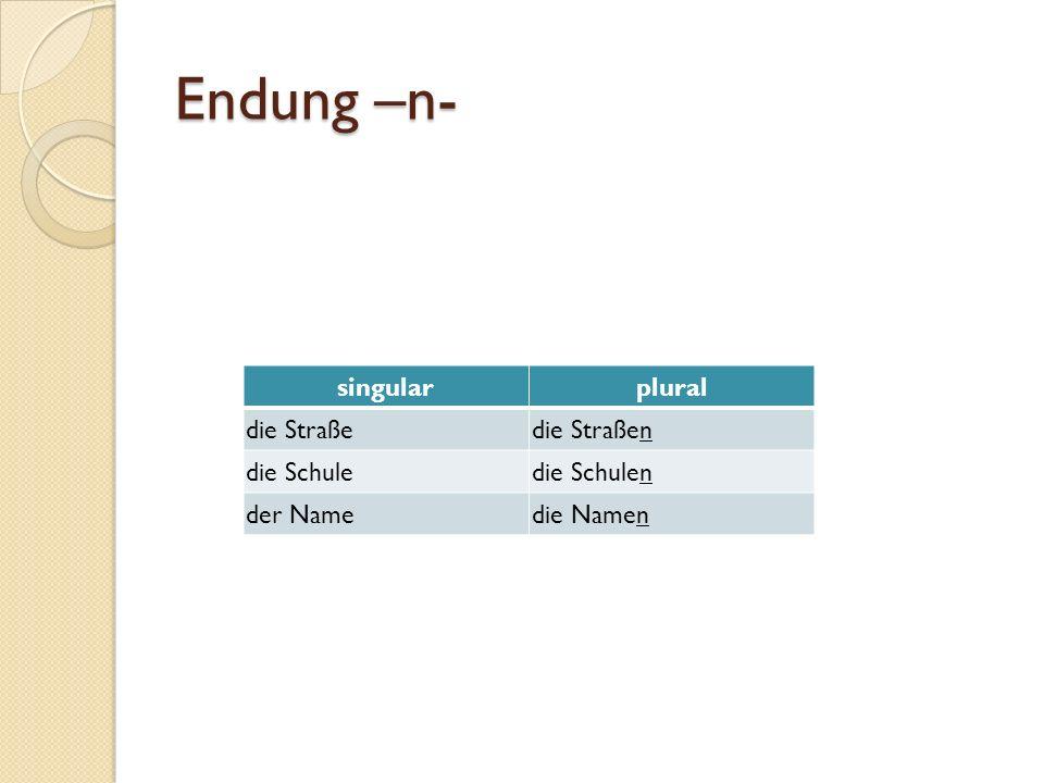 Endung –n- singular plural die Straße die Straßen die Schule