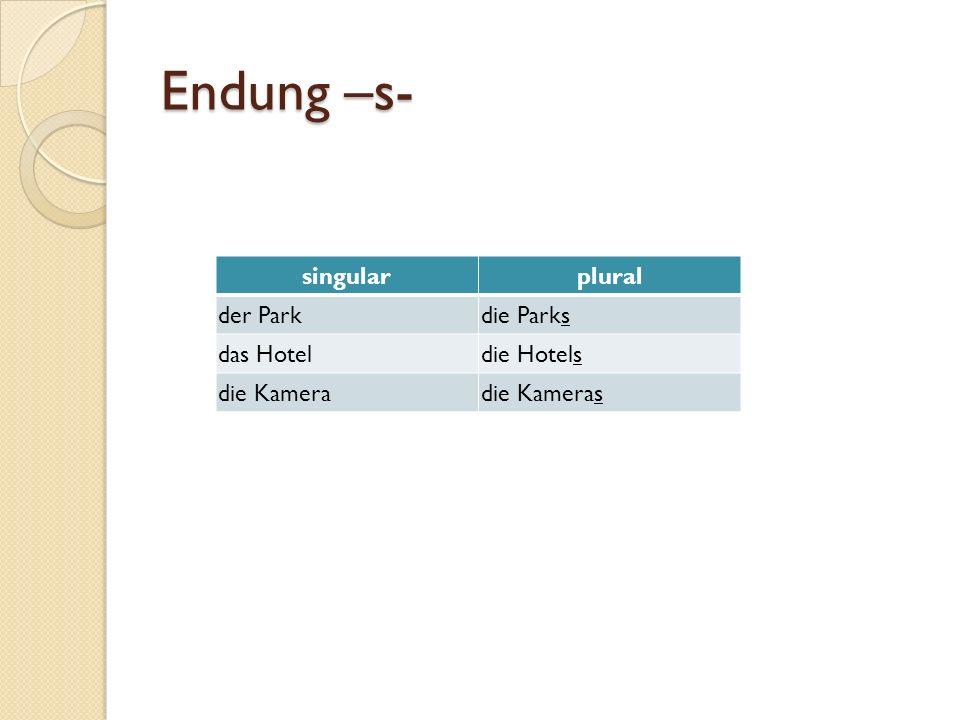 Endung –s- singular plural der Park die Parks das Hotel die Hotels