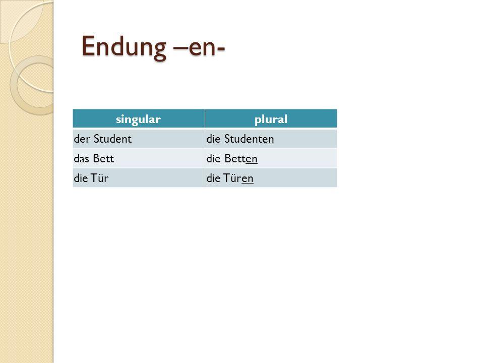 Endung –en- singular plural der Student die Studenten das Bett