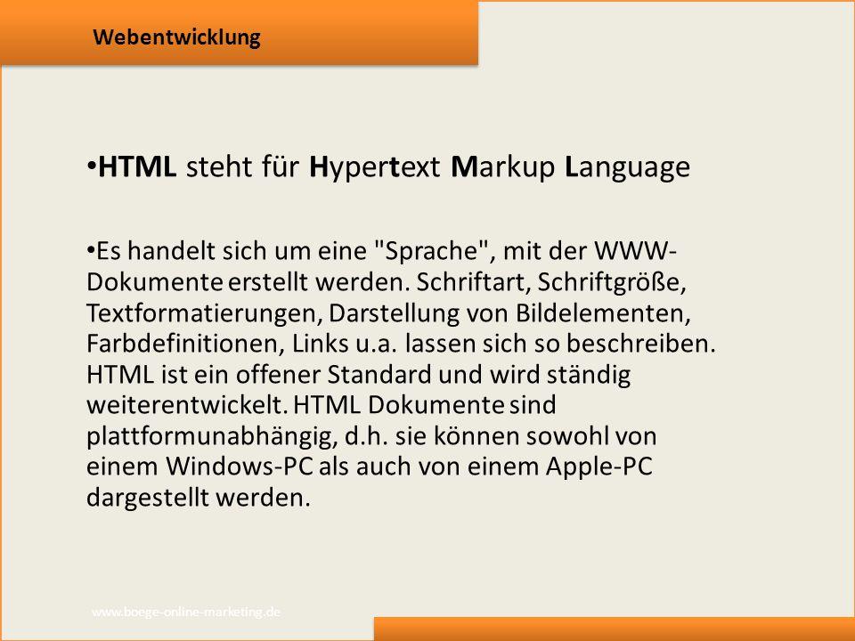 HTML steht für Hypertext Markup Language