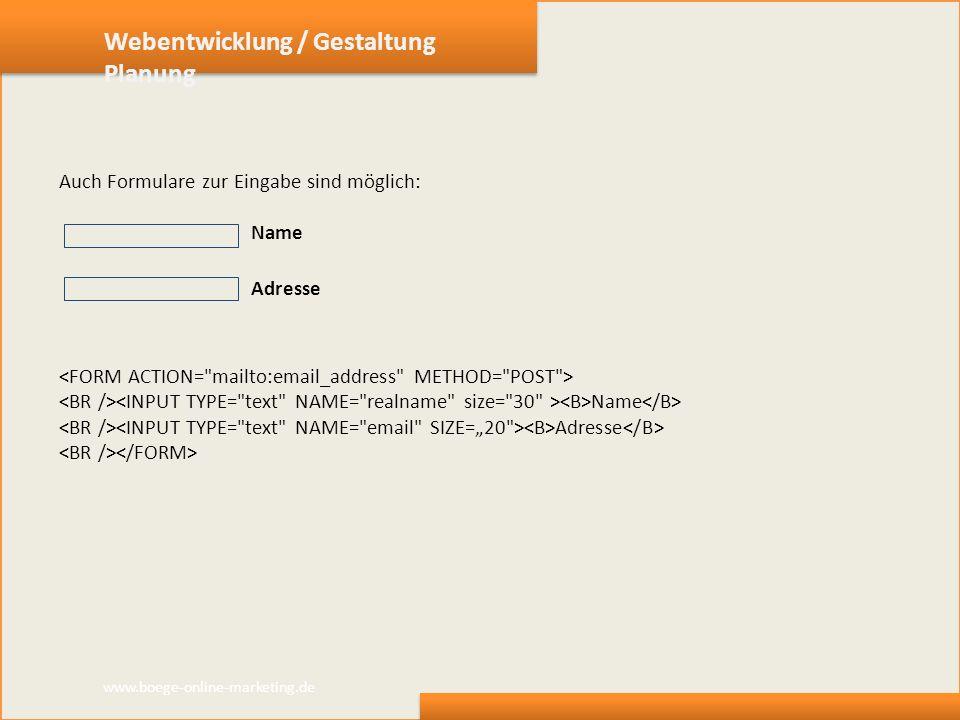 Webentwicklung / Gestaltung Planung