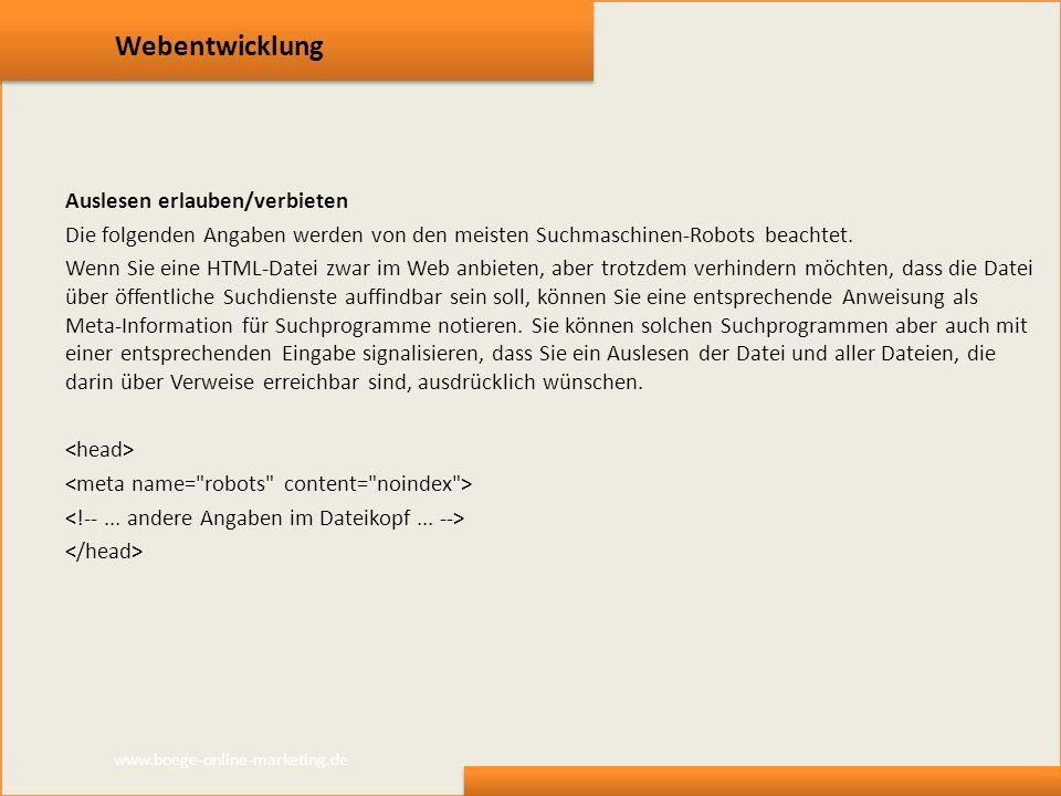 Webentwicklung Auslesen erlauben/verbieten